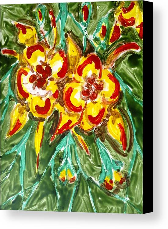 Abstract Flowers Canvas Print featuring the painting Divine Flowers by Baljit Chadha
