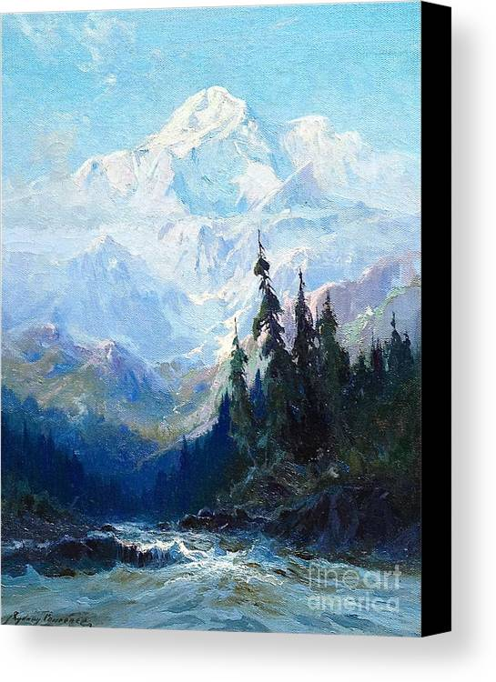 Sydney-laurence-mt-mckinley-rapids-of-the-tokacheetna-20-x-15-oil-on-canvas-period-newcomb-macklin Canvas Print featuring the painting Sydney Laurence by MotionAge Designs