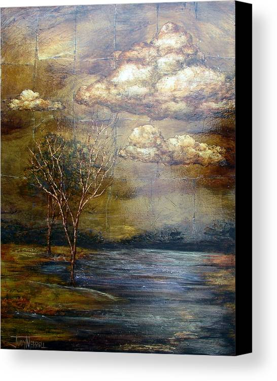 Oil Spill Canvas Print featuring the painting A Light Sheen by Judy Merrell