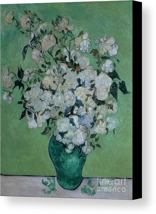 Vase Canvas Print featuring the painting A Vase Of Roses by Vincent van Gogh