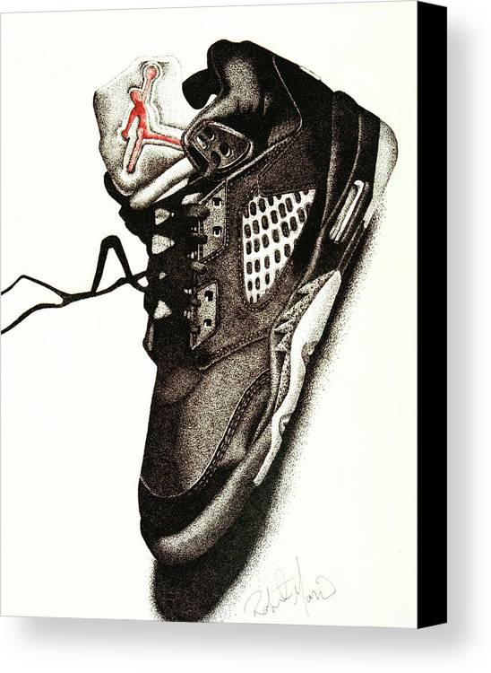 Shoes Canvas Print featuring the drawing Air Jordan by Robert Morin