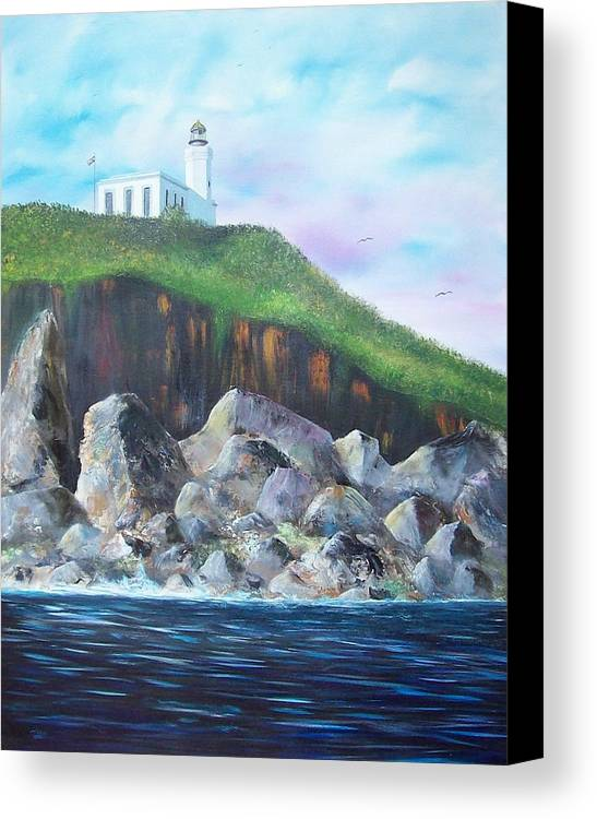 Arecibo Lighthouse Canvas Print featuring the painting Arecibo Lighthouse by Tony Rodriguez