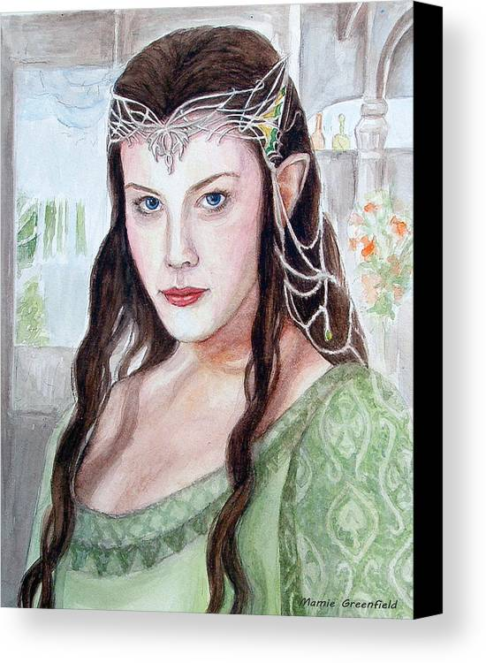 Portraits Canvas Print featuring the painting Arwen by Mamie Greenfield