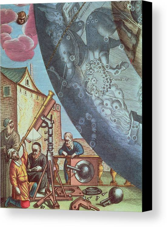 Astronomers Canvas Print featuring the painting Astronomers Looking Through A Telescope by Andreas Cellarius