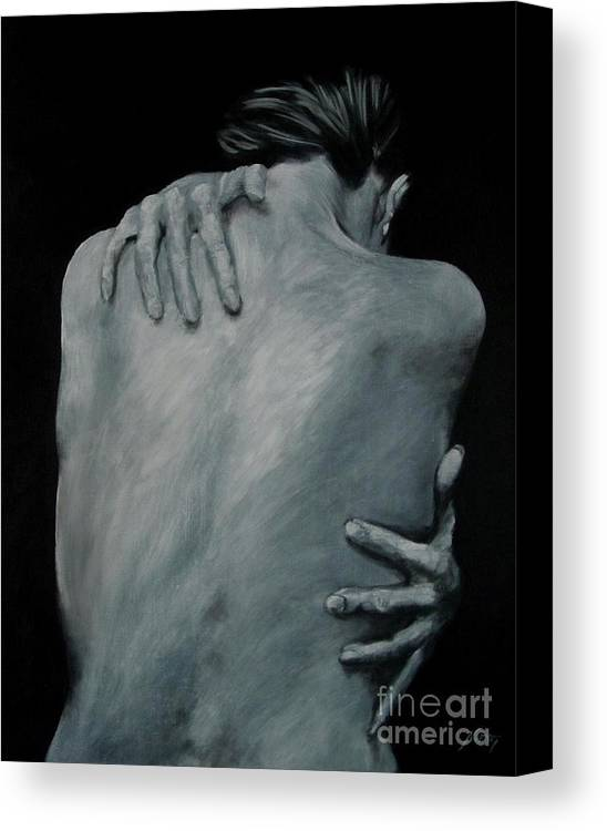 Nude Canvas Print featuring the painting Back Of Naked Woman by Jindra Noewi