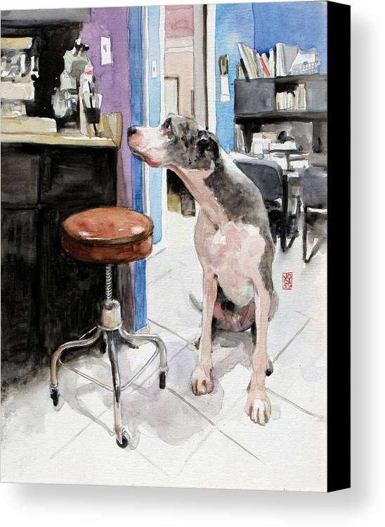 Veterinarian Canvas Print featuring the painting Back Office by Debra Jones