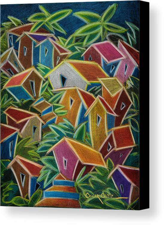 Landscape Canvas Print featuring the painting Barrio Lindo by Oscar Ortiz