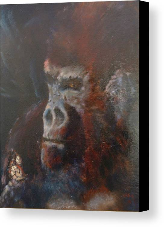 Primates Canvas Print featuring the painting Beauty And The Beast by Bryan Alexander