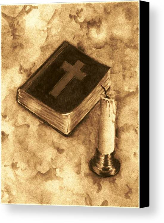 Bible Canvas Print featuring the painting Bible And Candle by Michael Vigliotti