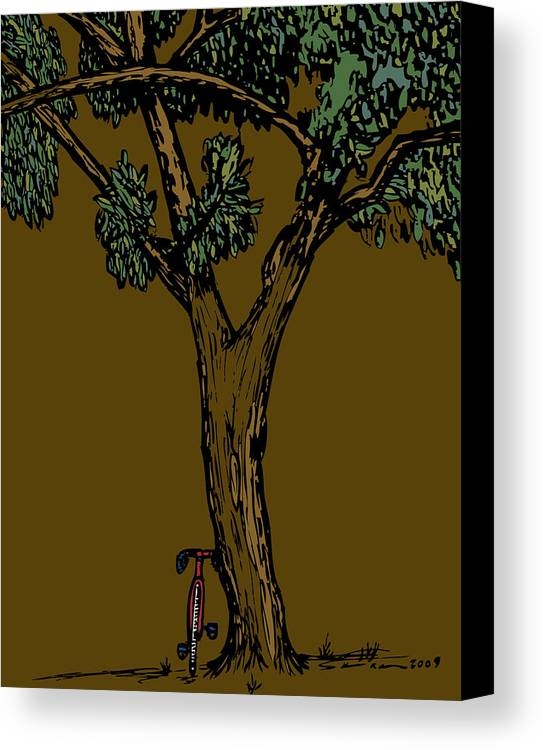 Bike Canvas Print featuring the drawing Bike Next To Tree by Karl Addison