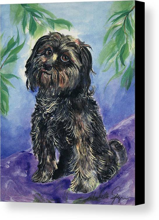 Pet Portraits Canvas Print featuring the painting Black Dog by Michelle Spiziri