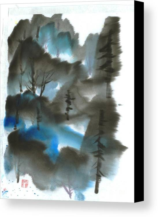 A Forest With A Tint Of Blue. This Is A Contemporary Chinese Ink And Color On Rice Paper Painting With Simple Zen Style Brush Strokes.  Canvas Print featuring the painting Blue Forest by Mui-Joo Wee