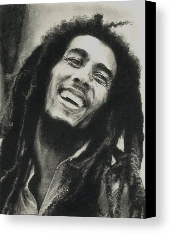 Drawing Canvas Print featuring the drawing Bob Marley by Dan Lamperd