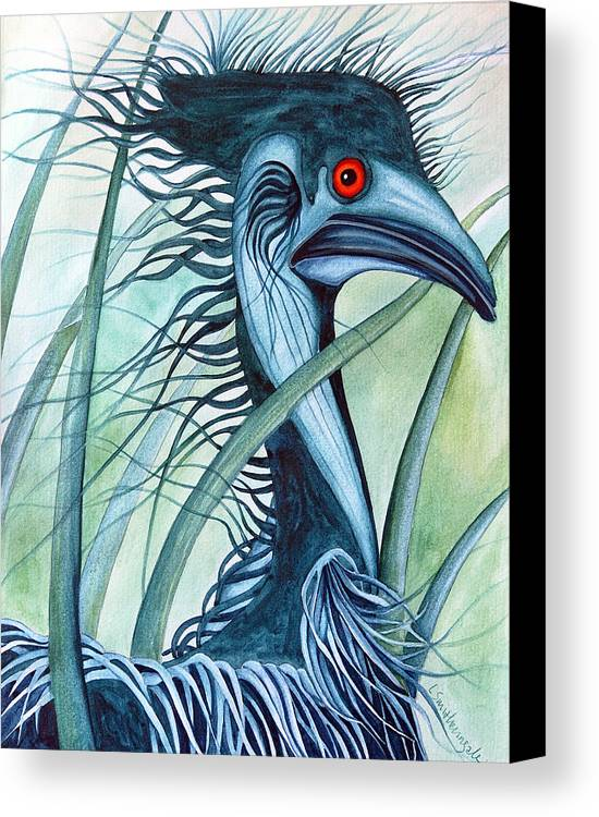 Emu Canvas Print featuring the painting Caeruleus by Lesley Smitheringale