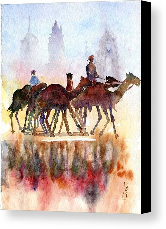 Camels Canvas Print featuring the painting Camelrider by Beena Samuel