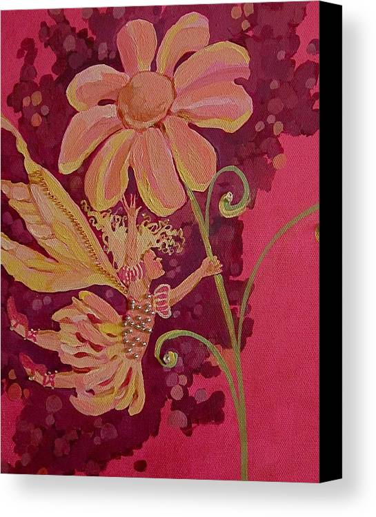 Flower Pink Fairy Child Canvas Print featuring the drawing Candy 2 by Jackie Rock