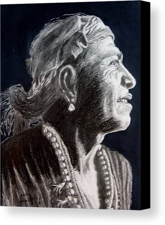Indian Canvas Print featuring the drawing Carl Moon by Stan Hamilton
