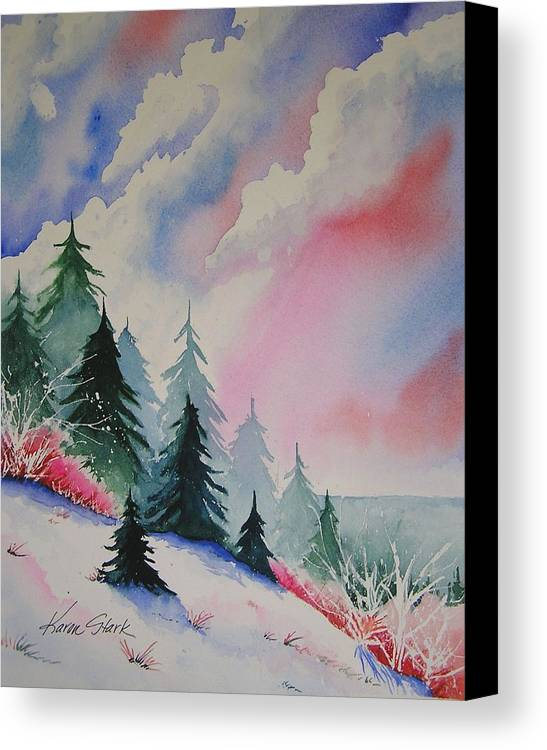 Snow Canvas Print featuring the painting Cedar Fork Snow by Karen Stark