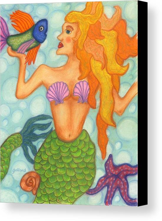 Mermaid Canvas Print featuring the painting Celeste The Mermaid by Norma Gafford