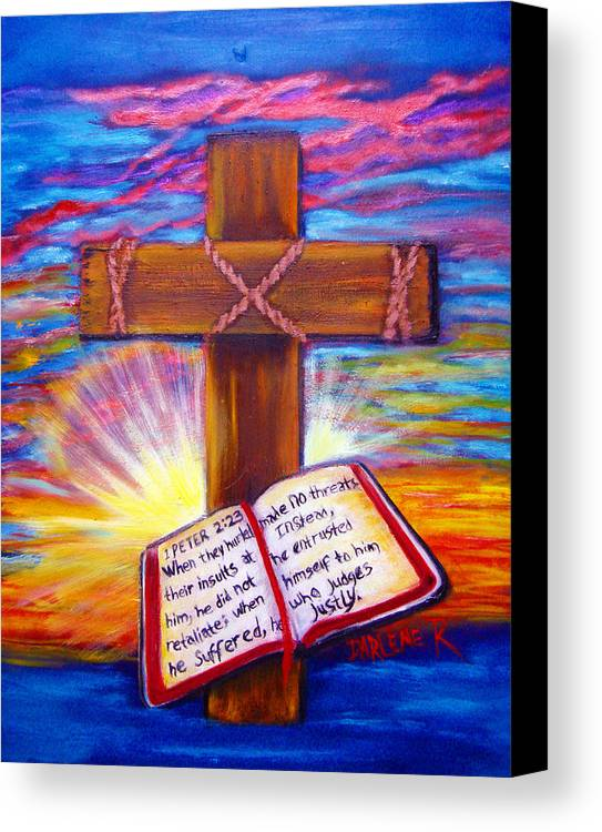 Cross Canvas Print featuring the painting Chads Cross by Darlene Green
