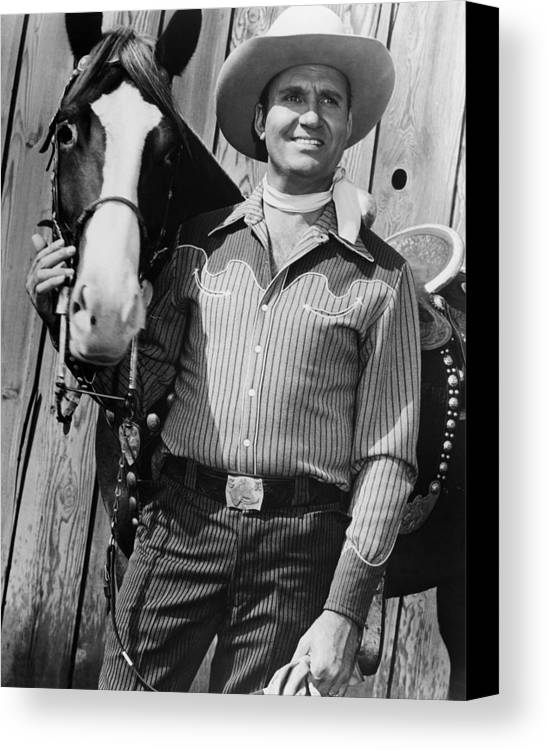 1950s Movies Canvas Print featuring the photograph Champion And Gene Autry by Everett
