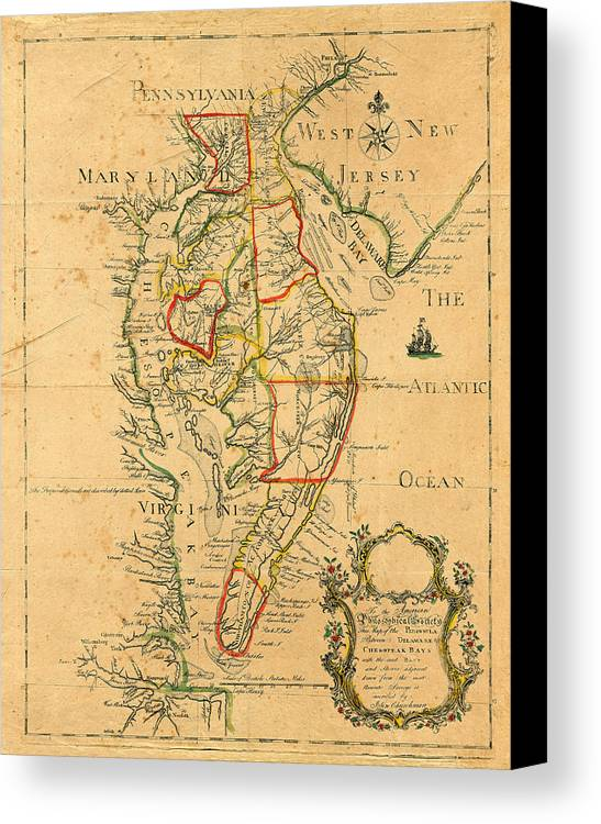 Map Of Chesapeake Bay Canvas Print featuring the photograph Chesapeake Bay 1786 by Andrew Fare