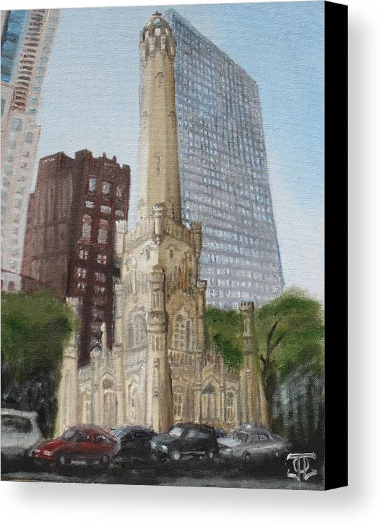 Chicago Canvas Print featuring the painting Chicago Water Tower 1b by Jeffrey Oleniacz