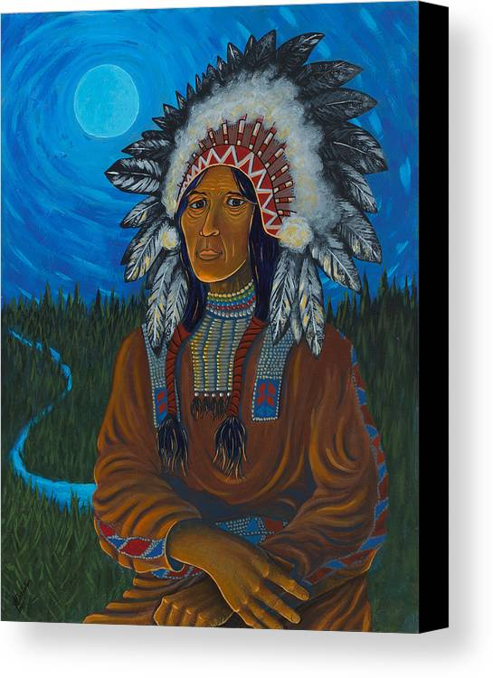 Chief Canvas Print featuring the painting Chief Before Campfire by Arnold Isbister