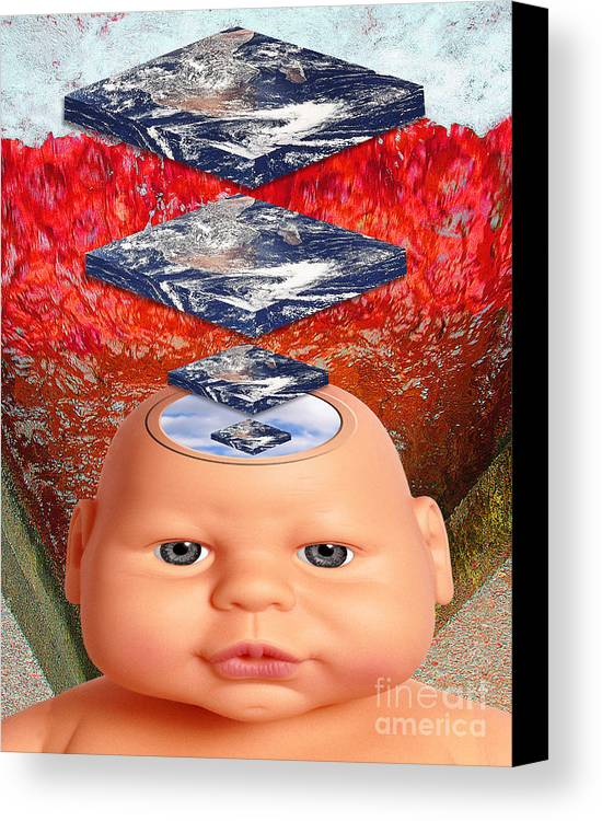 Red Canvas Print featuring the digital art Child In Flat Worlds by Keith Dillon