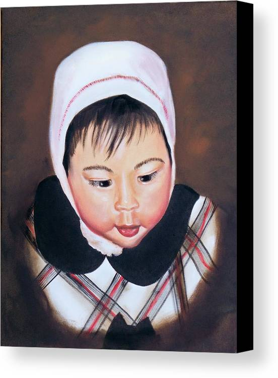 Oil Painting Canvas Print featuring the painting China Doll by Joni McPherson