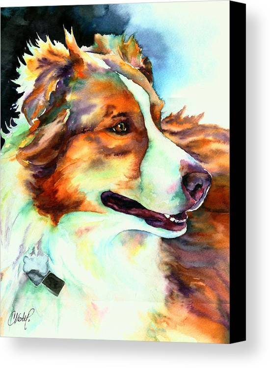 Dog Canvas Print featuring the painting Cocoa Lassie Collie Dog by Christy Freeman