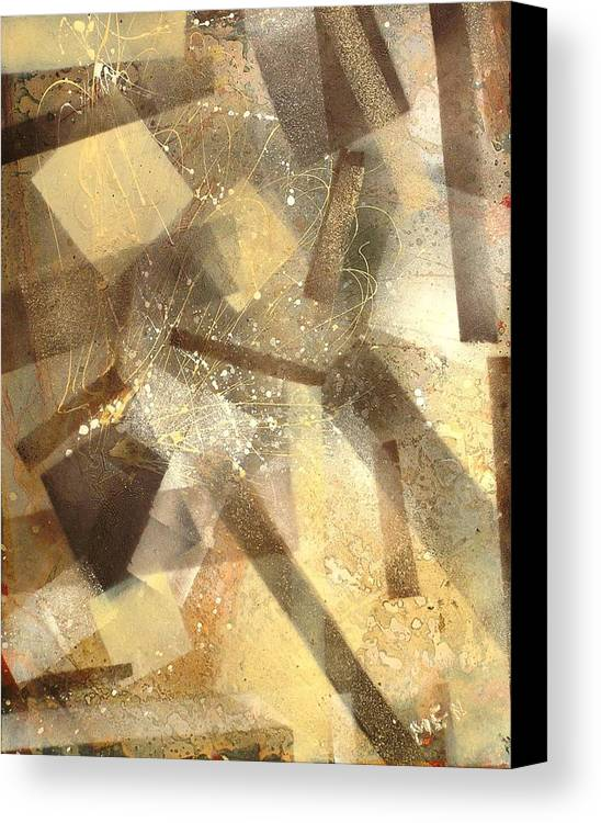 Abstract Canvas Print featuring the painting Construction In Brown by Evguenia Men