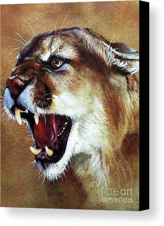 Southwest Art Canvas Print featuring the painting Cougar by J W Baker