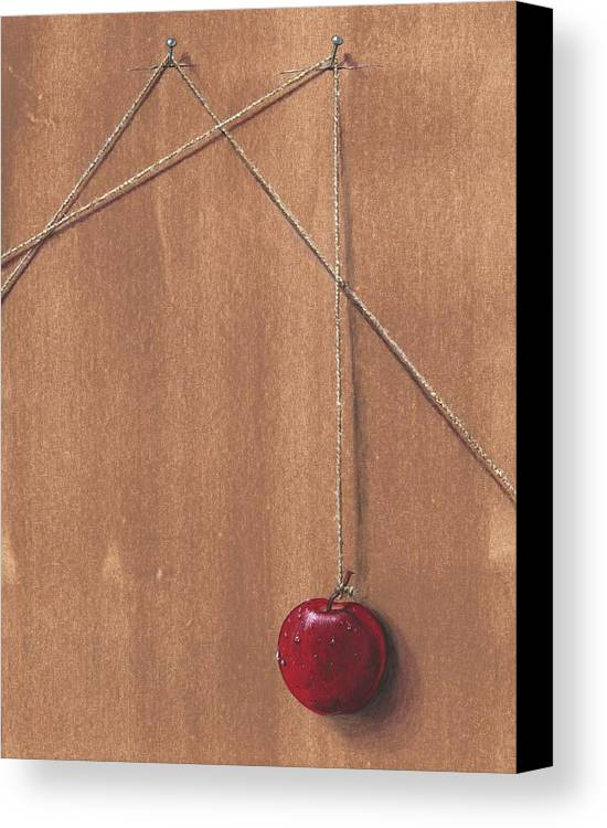 Apple Canvas Print featuring the painting Detail Of Balanced Temptation. by Roger Calle