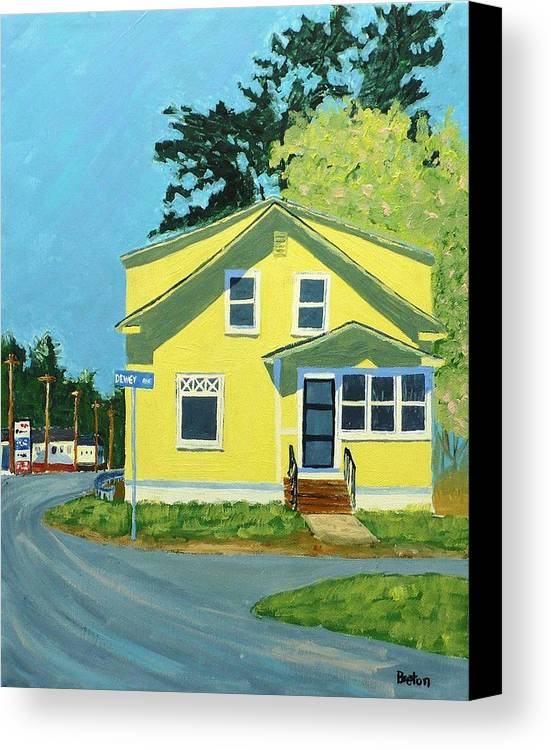 Landscape Canvas Print featuring the painting Dewey Ave by Laurie Breton