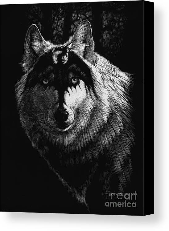 Wolf Canvas Print featuring the painting Dragon Wolf by Stanley Morrison