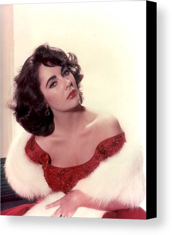 Canvas Print featuring the photograph Elizabeth Taylor Diamond Are Forever With Her Collectin by Peter Nowell
