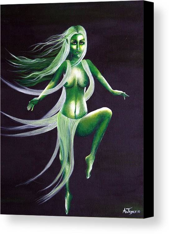 Fairy Canvas Print featuring the painting Fairy Of The Green Glens by Aoife Joyce