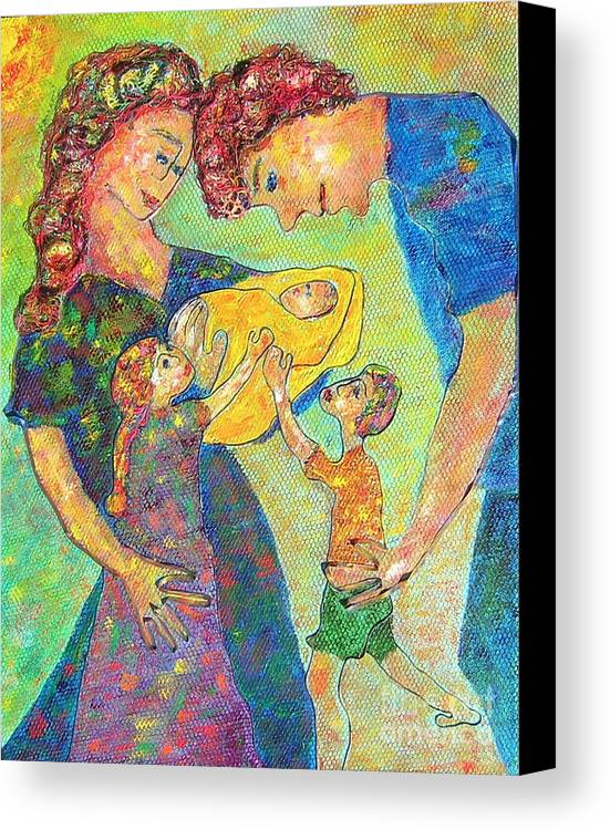 Family Enjoying Each Other Canvas Print featuring the painting Family Matters by Naomi Gerrard