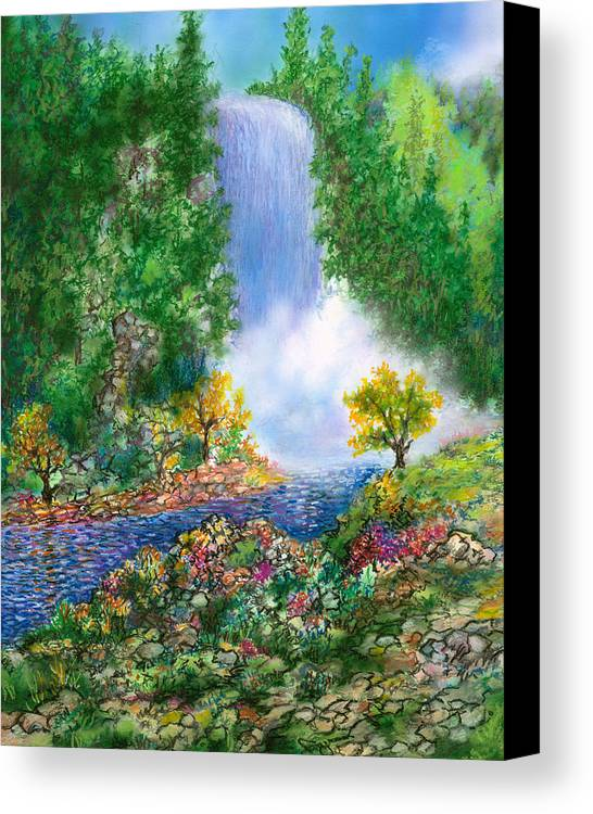 Waterfall Tropical Angel Falls Forest Animated Fine Art Prints Canvas Print featuring the drawing Fantasia Falls by William Vanya