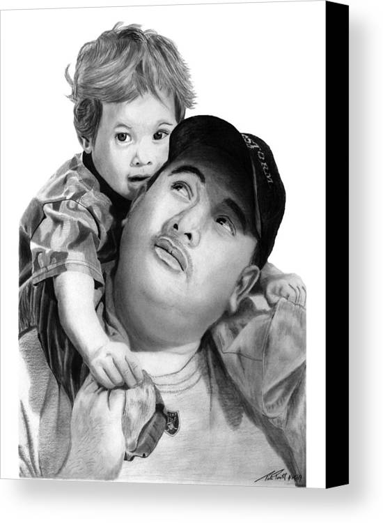 Father And Son Canvas Print featuring the drawing Father And Son by Peter Piatt