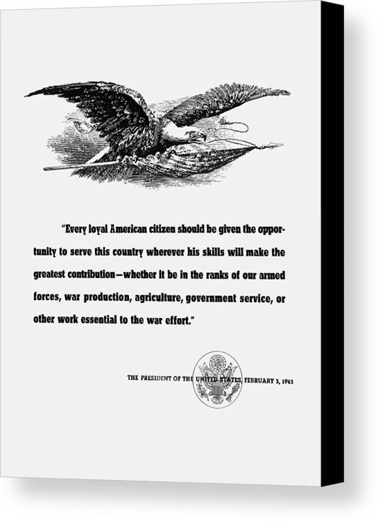 Franklin Roosevelt Canvas Print featuring the digital art Fdr War Quote by War Is Hell Store