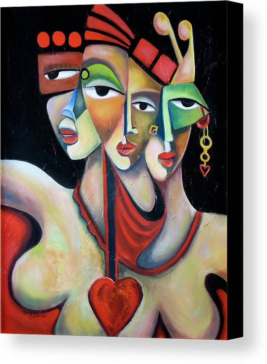 Festive Fiesta Women Party Red Green Abstract Figurative Cubist Cubism Canvas Print featuring the painting Fiesta by Niki Sands