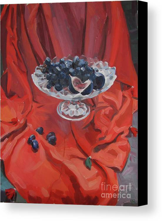 Still Life Canvas Print featuring the painting Figs And Grapes On Red by Kateryna Bortsova