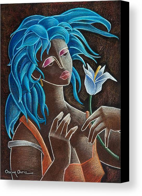Puerto Rico Canvas Print featuring the painting Flor Y Viento by Oscar Ortiz