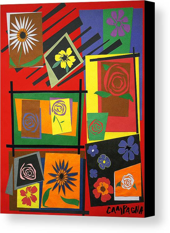 Cut Paper Canvas Print featuring the tapestry - textile Flower Study 2 by Teddy Campagna