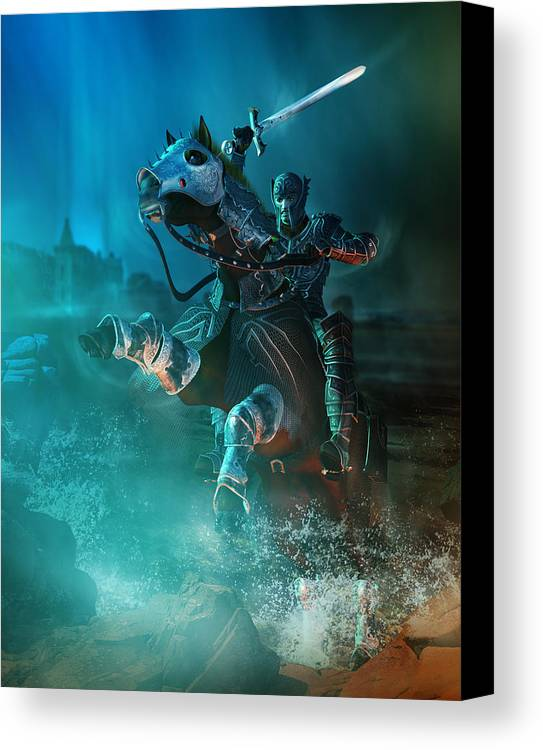 Man Canvas Print featuring the digital art For King And Country by Mary Hood