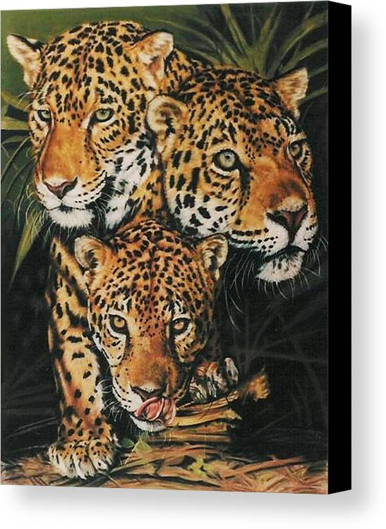 Jaguar Canvas Print featuring the pastel Forest Jewels by Barbara Keith