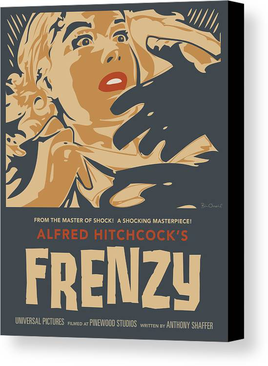 Film Canvas Print featuring the print Frenzy - Thriller Noir by Bill ONeil