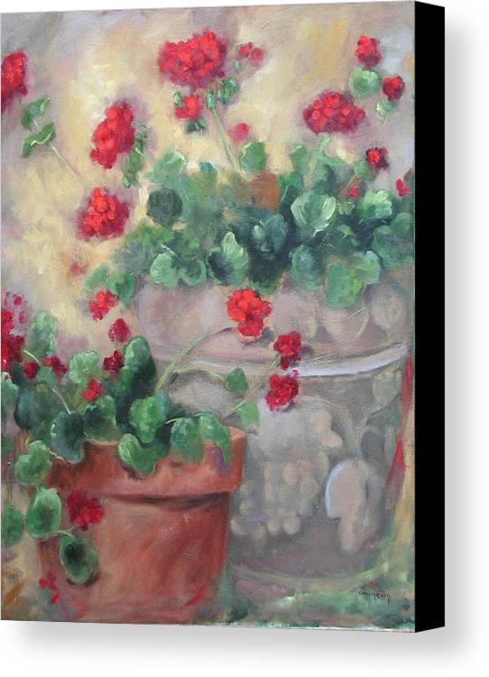 Geraniums Canvas Print featuring the painting Geraniums by Ginger Concepcion
